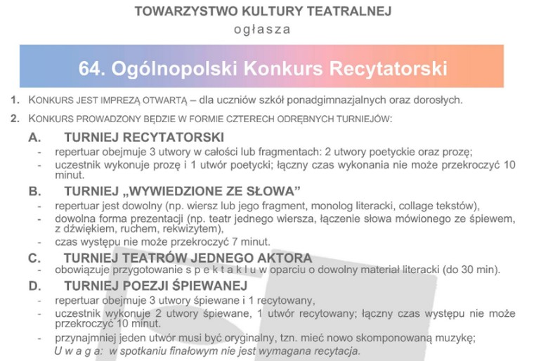 64 Ogólnopolski Konkurs Recytatorski Bochnianinpl