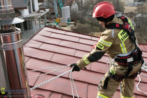 Uszkodzony dach domu jednorodzinnego na terenie Bochni.